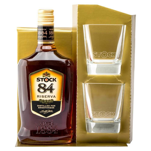 Stock 84 Brandy 38%vol. Weinbrand 0,7 L mit 2 Original Gläsern